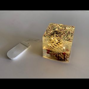 Resin Art- Cube w/lights- Christmas